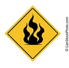 brûler, panneau avertissement