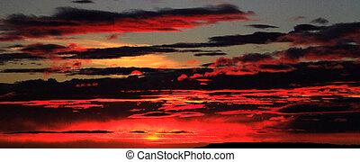 brûler, panoramique, ciel, vue