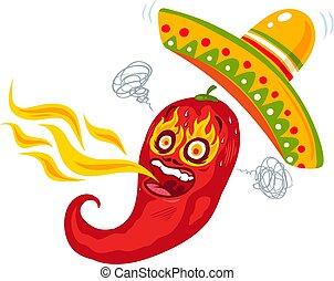 brûler, piment, dessin animé, rouges