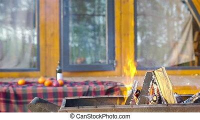 brûler, pique-nique, extérieur, gril, cuisine