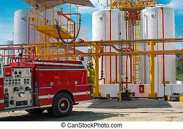 brûler, plante, industriel, camion