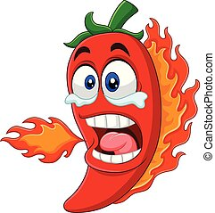 brûler, poivre, respiration, piment, dessin animé