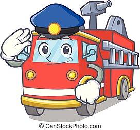 brûler, police, camion, dessin animé, caractère