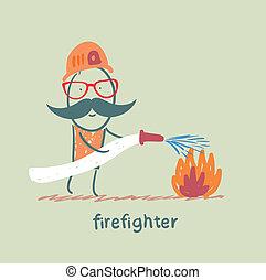 brûler, pompier, met, dehors