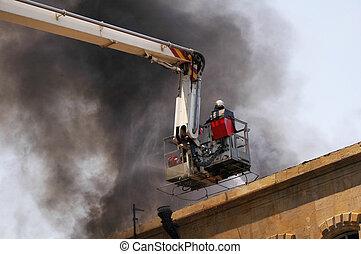 brûler, pompier, pendant, firetruck, boom