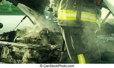 brûler, pompiers, éteindre, tries