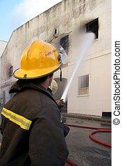 brûler, pompiers, combat