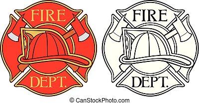 brûler, pompiers, croix, ou, département, maltais, symbole