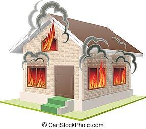 brûler, propriété, assurance, contre