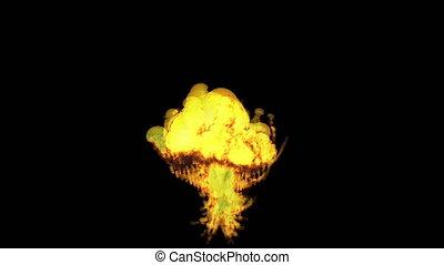 brûler, réaliste, explosions, fumée, hautement