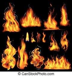 brûler, réaliste, flamme, brûlé