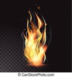 brûler, réaliste, flamme