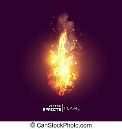 brûler, réaliste, vecteur, flamme