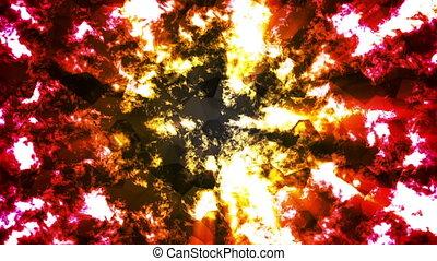 brûler, résumé, high-tech, verre, émission, boucle, résumé, jaune, motifs, rouges, hd