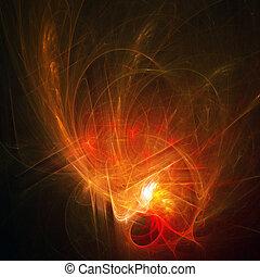 brûler, rayons, chaos