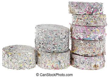 brûler, recyclé, coupure, papier, journaux bord