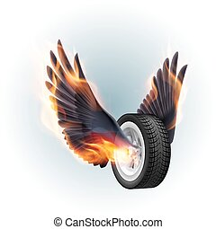 brûler, roue, ailes