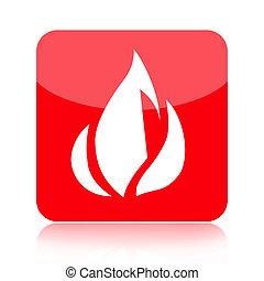 brûler, rouges, icône