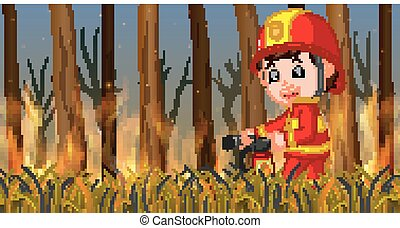 brûler, sauvage, scène, pompier
