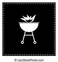 brûler, signe., pièce, arrière-plan., noir, barbecue, blanc, isolat