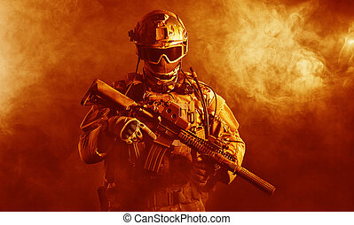 brûler, soldat, forces spéciales