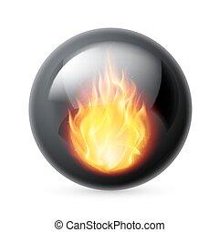 brûler, sphère, flammes
