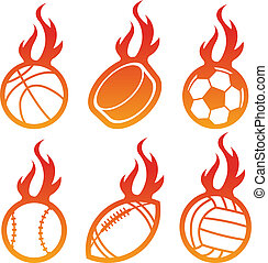brûler, sport, balles