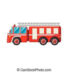 brûler, style, camion, dessin animé, icône