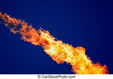 brûler, sur, sombre