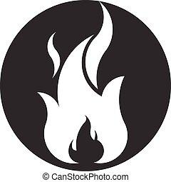 brûler, symbole, négatif, space., vecteur, flamme, logo