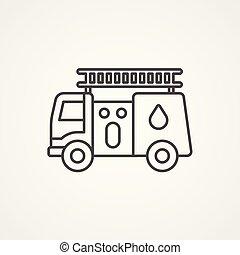 brûler, symbole, signe, vecteur, camion, icône