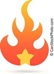 brûler, symbole, star., vecteur, flamme, logo