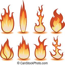 brûler, symboles, ensemble, flammes