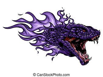 brûler, tête, flammes, dragon