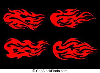 brûler, tatouage, flammes