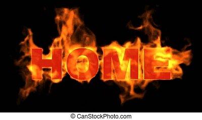 brûler, text., mot, brûlé, maison