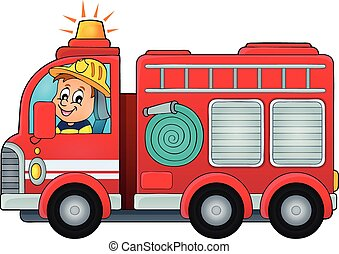 brûler, thème, camion, image, 4