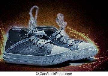 brûler, toile, chaussures