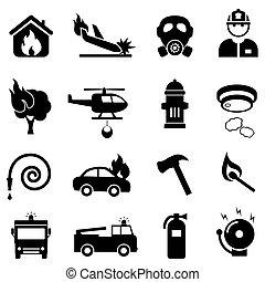 brûler, toile, ensemble, combat, icône