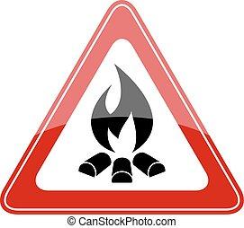 brûler, triangle avertissement, signe