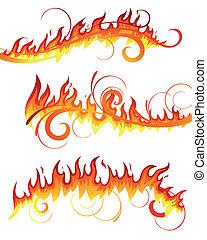 brûler, vecteur, éléments