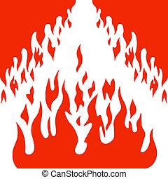 brûler, vecteur, brulure, flamme, fond