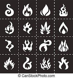 brûler, vecteur, ensemble, icône