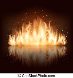brûler, vecteur, flamme, brûlé