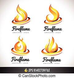 brûler, vecteur, flamme,  logo, conception, icône