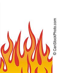 brûler, vecteur, flammes