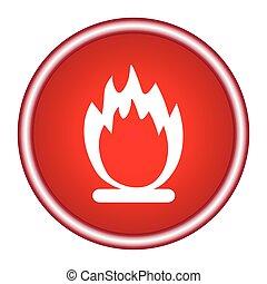 brûler, vecteur, fond, stockage, rouges, icône