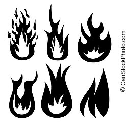 brûler, vecteur, icônes