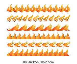brûler, vecteur, mettez stylique, éléments