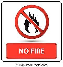 brûler, vecteur, non, illustration, signe